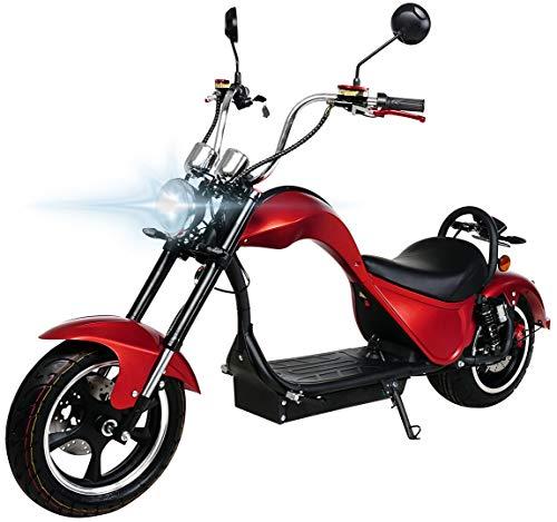 eFlux Chopper One Elektroroller Scooter - 2000 Watt Motor - Straßenzulassung - Bis zu 45 km/h - E-Scooter (Rot Matt)