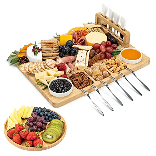 SMIRLY Cheese Board and Knife Set - Charcuterie Board Set, Cheese Platter Board, Bamboo Cheese Board with Cutlery Set, Cheese Tray, Wooden Cheese Board Set, Cheese Cutting Board Set, Cheese Plate Set
