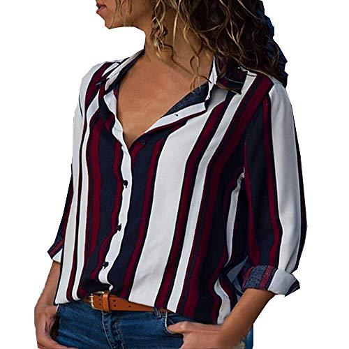 Camiseta de Manga Larga para Mujer, BBestseller Ropa Camisetas Mujer, Mujeres Ocasionales De Camisa de Manga Larga con Cuello en V deBotón Impreso Casual para Mujer (M, rojo1)