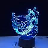 3D Meerjungfrau Prinzessin LED Nachtlicht Fernbedienung 16 Farben Nachtlicht Schlafzimmer Luminaria Tischlampe Geburtstag Weihnachten Kinder Geschenk Geschenk