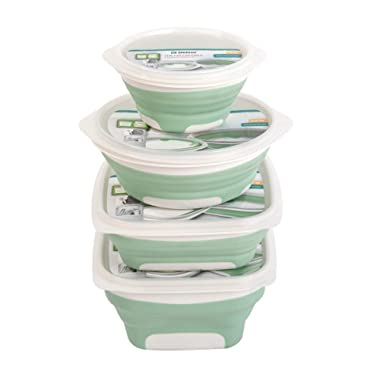 Drynatural Collapsible Food Storage Container with Lid-4 Pack Silicone Bento Lunch Boxes with 300ml/600ml/750ml/1000ml-Easily Washable & Stain Resistant, Dishwasher and Freezer Safe