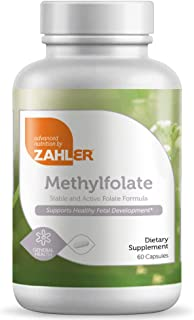 Zahler Methyl Folate (Quatrefolic Acid), 1000MCG, Supports Healthy Fetal Development, Certified Kosher, 60 Capsules