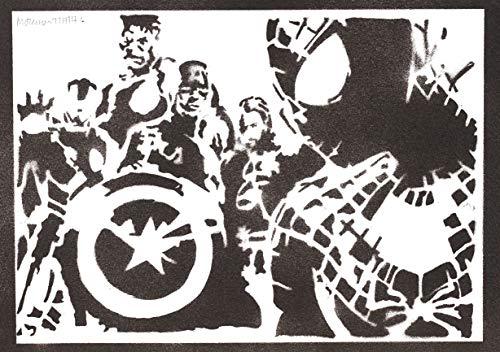 Póster Spiderman y los Vengadores Grafiti Hecho a Mano - Handmade Street Art - Artwork