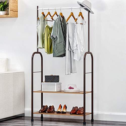 Leshared Modieuze kledingstandaard voor kleding, rek, kledinghanger, van ijzer, 1 stang, 2 rekken voor schoenen, woonkamermeubels