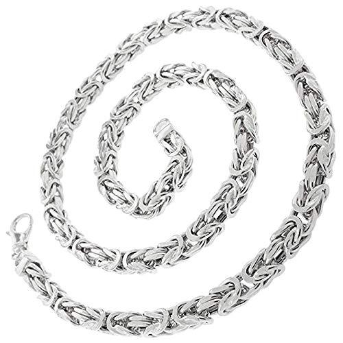 Valone Königskette Silber Herren I 50cm 3|2mm I echtes 925 Silber I Byzantinische Halskette Herren ohne Anhänger I rhodiniert I vierkant (Rhodiniertes