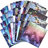 48 Pieces Scrapbook Paper Pad Watercolor Starry Sky Paper Pack 12 Styles Sky Craft Paper with One Side Prints Cardstock for Scrapbooking DIY Holiday Photo Album Crafts Making, 6 x 6 Inch