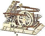 BUSUANZI Rompecabezas De Madera 3D Mecánico Conjunto De Kits De Modelos De Madera con Ejecución De Mármol con Manivela Manual Kits De Modelos con Bolas para Adolescentes Y Adultos
