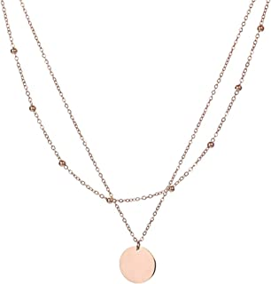 Dainty Rose Gold Layered Necklace for Women - 18k Gold Plated Titanium Steel Coin Choker Necklace Ideal Gift for Girls and Ladies,Charm Disk Circle and Cross Star Pendant Stainless Steel Mom Necklace