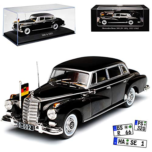 Ixo Mercedes-Benz 300d W189 Konrad Adenauer mit Flagge 1957-1962 1/43 Modell Auto