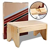 Wooden Step Stool for Adults - Very Study, Bed Stool for High Beds, Kitchen, Bathroom, Closet. Great Wood Step Stool for Adults. Made Lightweight Quality Eco Pine, Attractive & Easy to Assemble
