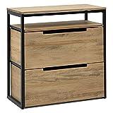 Mueble Multiusos iCub Eco Cajon Medio y cajón Inferior 80x40x80cm Negro en Madera de Pino Maciza Acabado Vintage Estilo Industrial Box Furniture