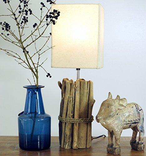 Guru-Shop Tischlampe/Tischleuchte Kuma, in Bali Handgemachtes Unikat aus Naturmaterial, Treibholz, Baumwolle - Modell Kuma, 50x17x17 cm, Dekolampe Stimmungsleuchte