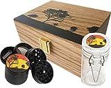 StashAM Stash Box Combo with Grinder - Includes Zinc Alloy 4 Part Herb Grinder, Smell Proof Airtight Glass Stash Jar & Embossed Wood Stash Box (Black)