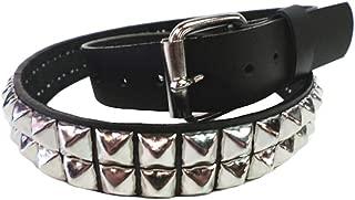 Bullet 69 Black 3 Row Rocker Alternative Conical Studded Leather Belt 38mm