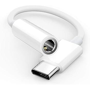 Type C イヤホン 変換アダプター usb c 3.5mm 変換 タイプCイヤホン変換ケーブル 音声通話/音量調節/音楽 (white)