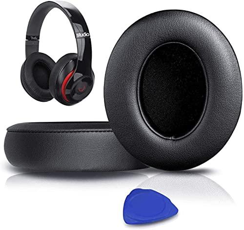 SoloWIT® Cuscinetti Auricolari Di Ricambio per Beats Studio 2 e Studio 3 Wired/Wireless Cuffia con morbida pelle proteina/memory foam/nastro adesivo forte