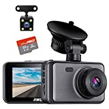Dash Cam Front and Rear Include 32GB SD Card, 1080P Dash Camera for Cars 3 Inch LCD Screen Dual Dash Cam with Night Vision, 170° Wide Angle Dashboard Camera Motion Detection Parking Monitor G-Sensor