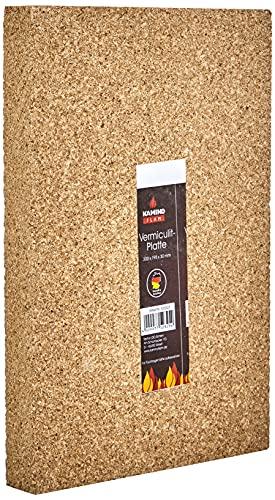 Kamino - Flam Panneau de Vermiculite, Vermiculite Plaque Cheminée de Matériau Naturel, Substitut Pour Chamotte, Résistant aux Températures jusqu'à 1.100 °C, env. 30 x 19.8 x 3 cm