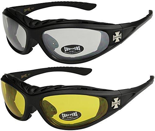 X-CRUZE 2er Pack Choppers 911 Sonnenbrillen Motorradbrille Sportbrille Radbrille - 1x Modell 02 (schwarz/annährend transparent) und 1x Modell 03 (schwarz/gelb getönt) - Modell 02 + 03 -