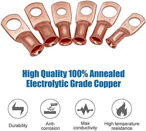 10 Pack Heavy Duty Battery Terminal Connectors Cable Ends Include 10 PCS UL Listed AWG Crimp Copper Wire Ring Lugs with 10 PCS 2:1 Heat Shrink Tubing Assortment Kit 6 AWG 1//4 Ring