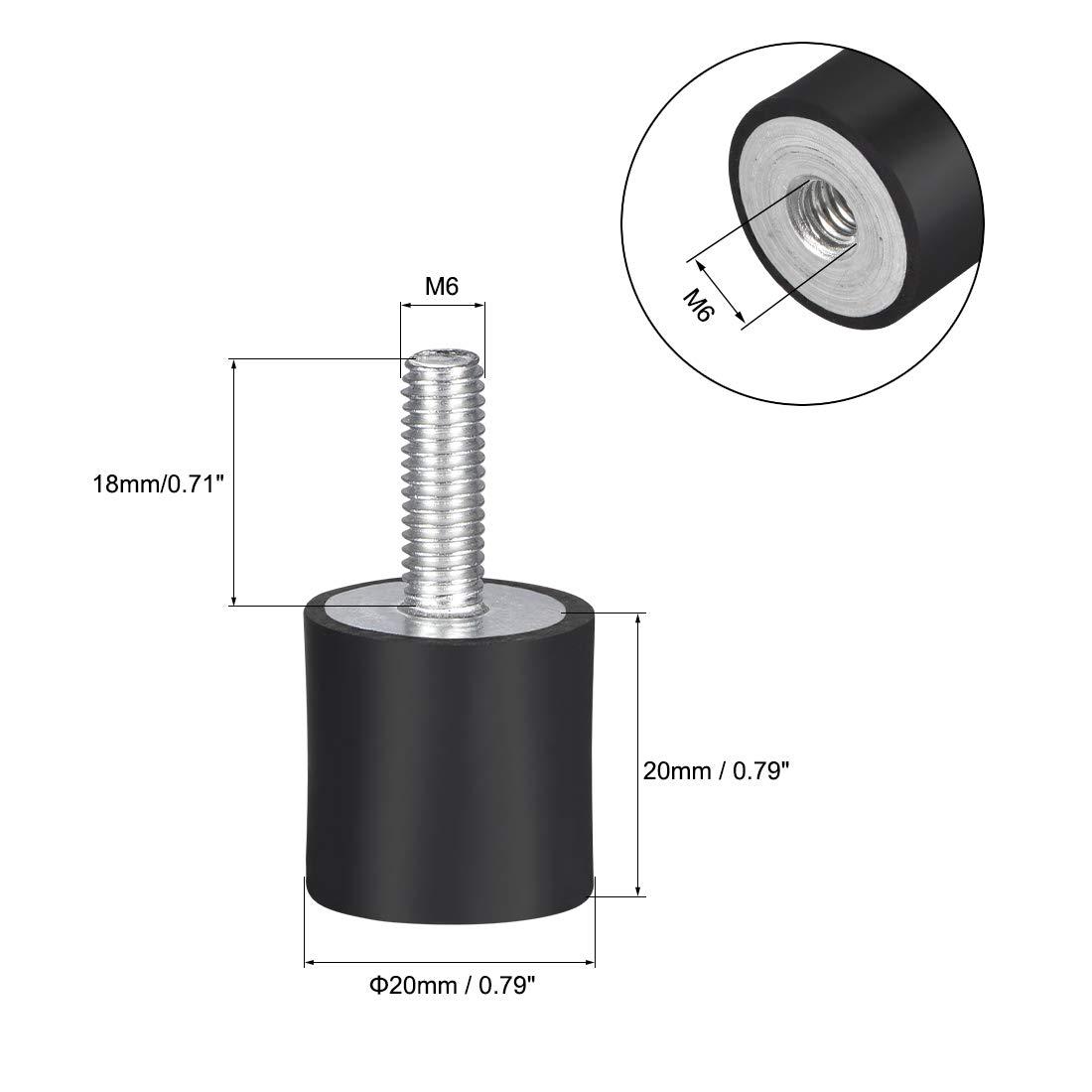 uxcell M8 Lot de 4 supports cylindriques en caoutchouc pour absorber les vibrations et les chocs avec tige filet/ée Diam/ètre 3,8 cm Hauteur 3,8 cm