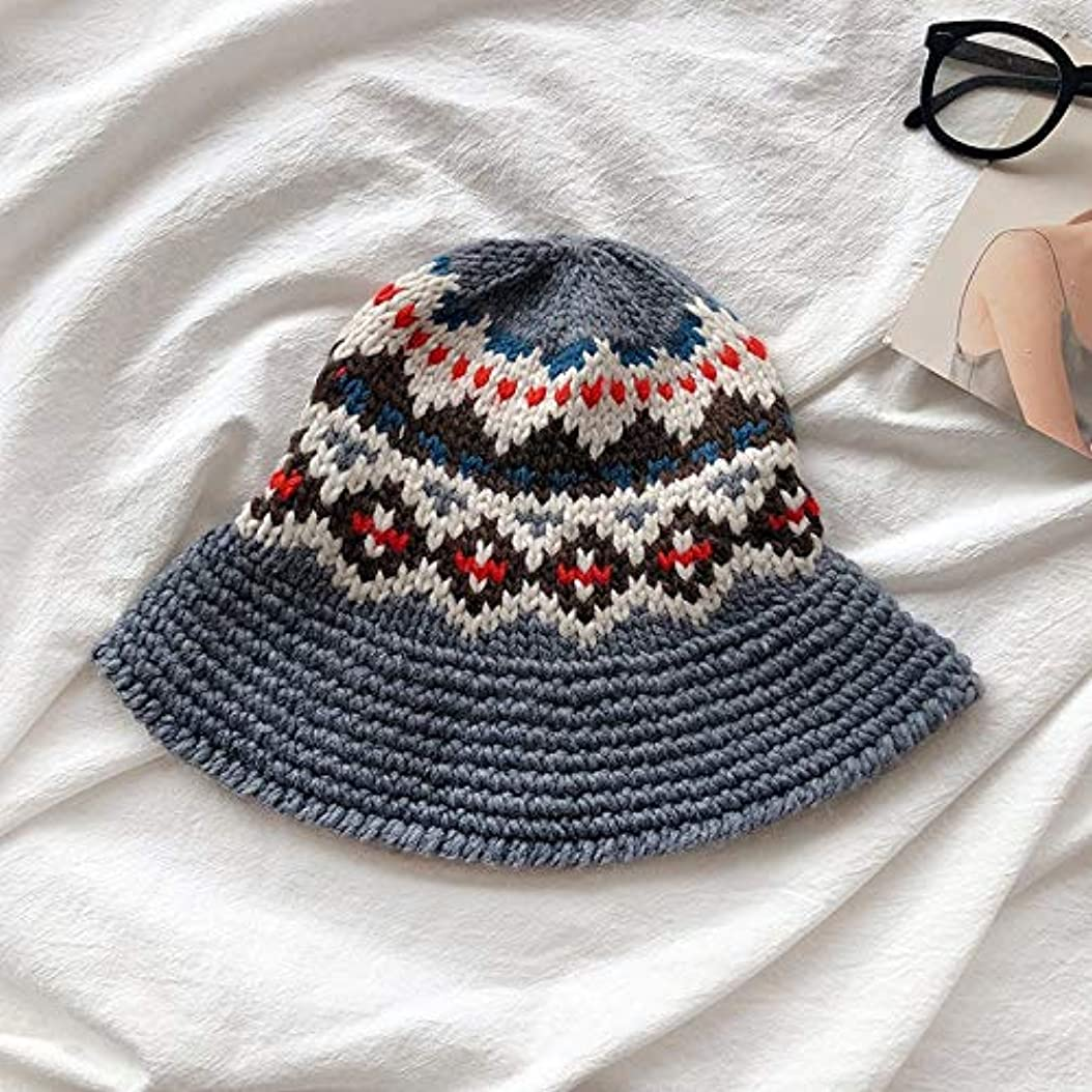 ブラザーまもなくに対処するHVTKLN 日本の手作り帽子韓国人女性の野生の女性の秋と冬のニット帽の粗いライン演劇カーリングポットの帽子 HVTKLN (Color : Grey, Size : M)