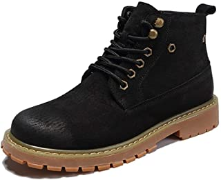 Sunny&Baby Ankle Boots for Men High Top Work Boots Lace up Round Toe PU Leather Anti Slip Stitching British Style Solid Color Outdoor Durable (Color : Black, Size : 7.5 UK)
