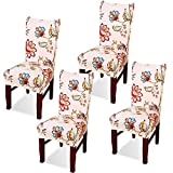 Argstar 4 Pack Dining Chair Covers, Lotus Armless Chair Slipcover for Dining Room, Floral Kitchen Cover Set of 4, Washable Parson Chair Protector for Dining Room
