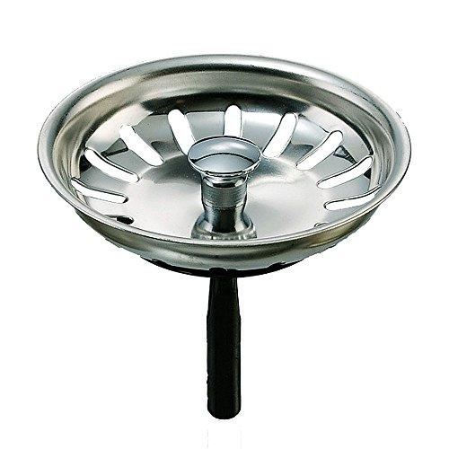 Universelles Siebkörbchen - für manuelle Bedienung des Ablaufstopfens oder Ablaufventils in Küchenspülen - Edelstahl - 3,5 Zoll = Durchmesser 81 mm