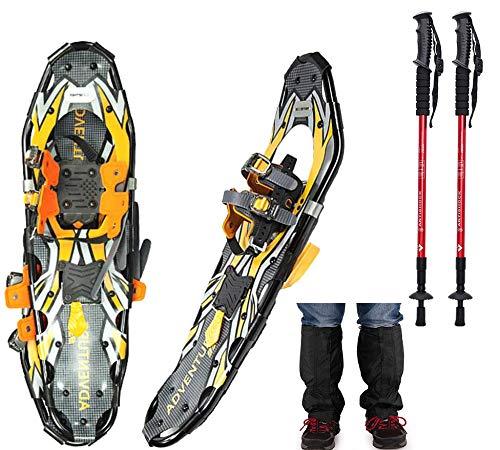 LJXiioo Juego de Zapatos de Nieve livianos 4 en 1 de 21'/ 25' / 30'para Hombres y Mujeres con Bastones de Trekking, Polainas Impermeables para la Nieve y Bolsa de Transporte,25