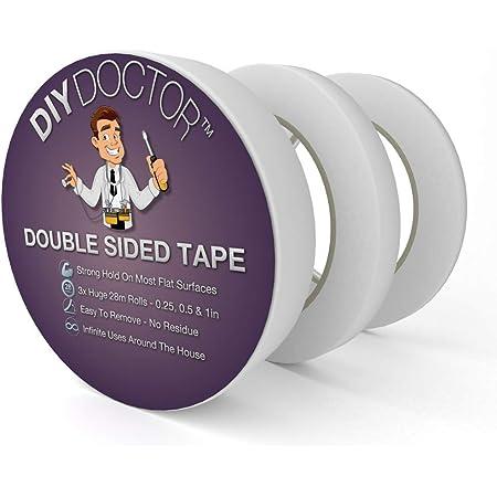 DIY Doctor 3 Rouleaux Multi-Usages Ruban Adhésif Double Face Adhésif pour Artisanat, Photos, Papier Peint Scrapbooking, Arts, Cartes et Boîtes - 28 m de long, 6 mm, 12 mm, 25 mm, Transparent