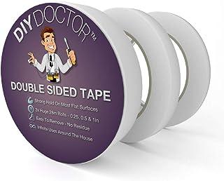 DIY Doctor 3 Rouleaux Multi-Usages Ruban Adhésif Double Face Adhésif pour Artisanat, Photos, Papier Peint Scrapbooking, Ar...
