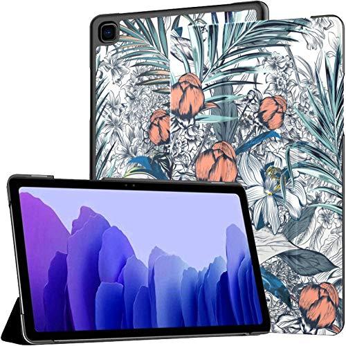 Estuche para Tableta Samsung A7 Hermoso patrón Elegante con Estuche de Vector de peonía Dibujado a Mano para Samsung Galaxy Tab A7 10.4 Pulgadas Estuche Protector de liberación 2020 Estuche Samsung G