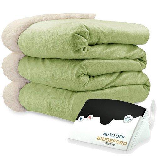 Biddeford Blankets Micro Mink Sherpa Electric Heated Blanket with Digital Controller, Full, Sage
