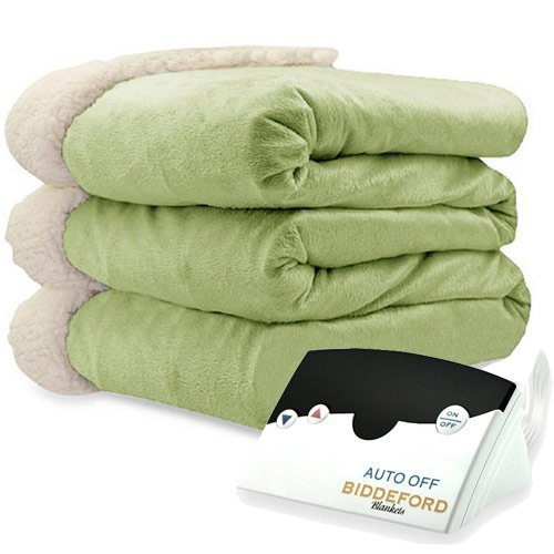 Biddeford 6001-9051136-635 Electric Heated Micro Mink/Sherpa Blanket, Full, Sage