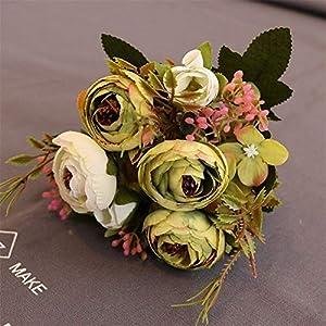 Artificial and Dried Flower 1 Bunch Camellia Bud Silk Artificial Flower Bouquet for Home Wedding Decoration European Vase Table Arrangement Flowers