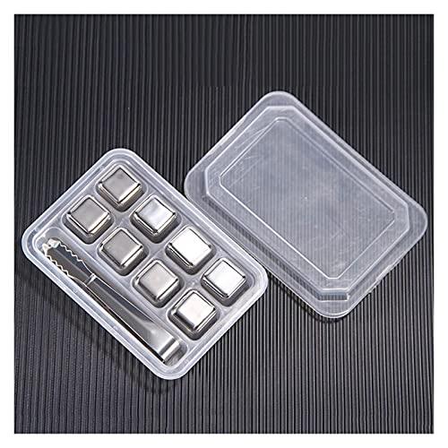 SteinsGate Reutilizable refrigerador de Acero Inoxidable Cubo de Hielo Piedra 8 Piezas/Set Whisky Forma en Forma de corazón Regalo de Beber con Pinzas (Color : Square with Tongs)