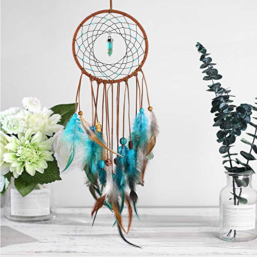 AWAYTR Dream Catchers Wall Decor - Feather Dream Catcher Room and Bedroom Decoration Hanging Ornament for Home Decor Gift (Blue&Green)