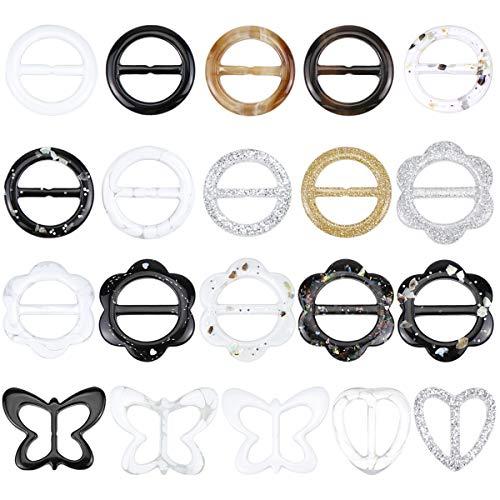 Hysagtek 20 Stück T-Shirt Clips Kunststoff Schal Schnalle Clips Ring für Frauen Seide Halstuch Kleidung T-Shirt Mode-Accessoires, 1,2 Zoll