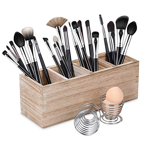 Wood Makeup Brush Organizer Holder with 2 Pcs Beauty Sponge Stand, Rustic Cosmetic Organizer Brushes Holder, Adjustable 4 Slot Cosmetic Storage, Dresser Counter Organizer
