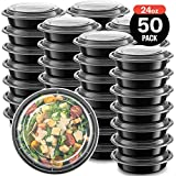 50-Pack Meal prep Plastic Microwavable Food Containers Bowls for Meal prepping with Lids (24 OZ.) Black Reusable Storage Lunch Boxes -BPA-Free Food Grade -Freezer & Dishwasher Safe - Premium Quality