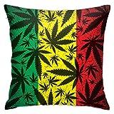 Depositphotos_53371697-Stock-Illustration-Cannabis-Leaf-On-Grunge-Funda de almohada, funda de cojín cuadrada para sofá, coche, cama, hogar, 45,7 x 45,7 cm