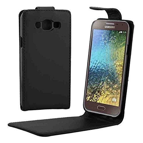 Schützen Sie Ihr Mobiltelefon Vertikale Flip Magnetic Button Leder Tasche für Samsung Galaxy E5 / E500 für Samsung Handy