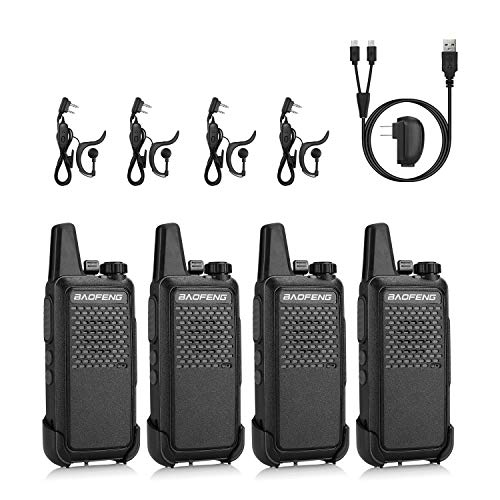 BAOFENG GT-22 FRS Two Way Radio License Free, 2W 1500mAh Battery, Handsfree Portable Walkie Talkie, Micro USB Charging, headsets, 4 Pack