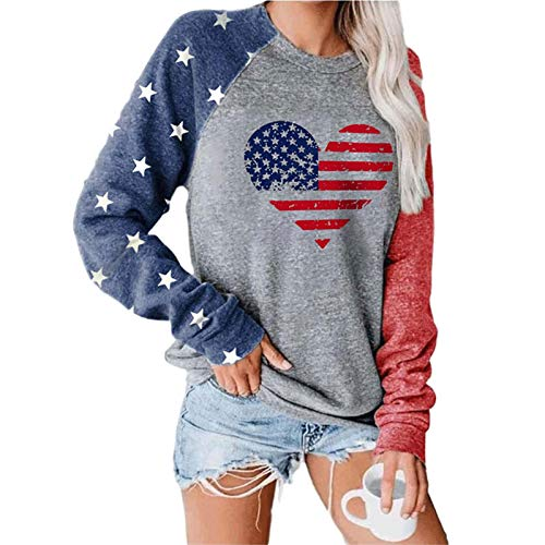 Hong Yi Fei-Shop Camisetas de Manga Larga EE.UU. Bandera Impreso Jersey para Mujeres Manga Larga Casual Blusa Adolescentes Tops Tops Camisetas Camisetas (Color : D, Size : XX-Large Size)