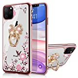WATACHE iPhone 11 Pro Max Case, Glitter Sparkly Diamond Secret Garden Floral Butterfly Clear Back Soft TPU Case with Bling Ring Grip Holder Stand for Apple iPhone 11 Pro Max,Butterfly Ring/Rose Gold
