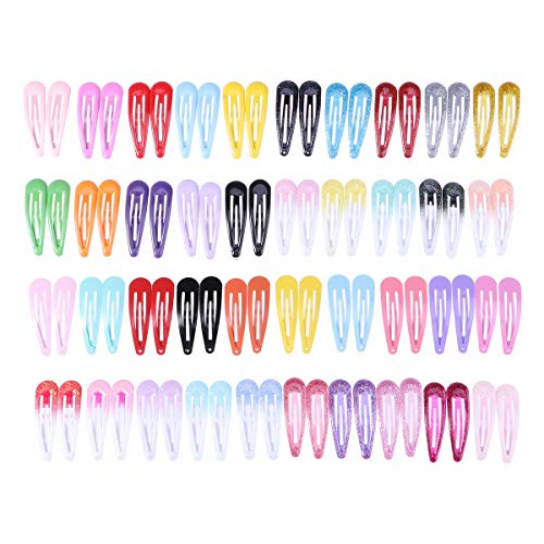 80pcs Colorful Snap Hair Clips Candy Color Barrettes Hairpins Headwear Hair Accessories for Girls Women (Random Style)