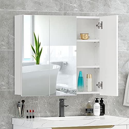 KJ Armadietto a specchio da bagno, da parete, 3 ante con specchio, armadietto per bagno, mensola regolabile, armadio per camera da letto, 70 x 63 x 16 cm, bianco