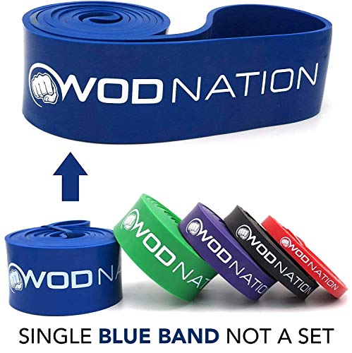 WOD Nation Pull up Assistance Bands Best for Pullup Assist, Chin Ups, Resistance Band Exercise, Stretch, Mobility Work & Serious Fitness - Single Band 41 inch Straps | 1 Blue Band