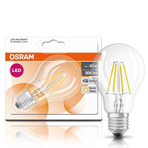 Osram LED Star Classic A, in Kolbenform mit E27-Sockel, Nicht Dimmbar, Ersetzt 60 Watt, Filamentstil Klar, Warmweiß – 2700 Kelvin, 6er-Pack - 2